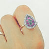 Multi Color Crystal Vintage Silver Ring
