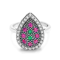 Multi Color Crystal Vintage Silver Ring - Jewelry - Prjewel.com - 2
