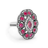 Cubic Zirconia Red Crystal Vintage Silver Ring - Jewelry - Prjewel.com - 2