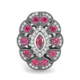 Cubic Zirconia Red Crystal Vintage Silver Ring - Jewelry - Prjewel.com - 1