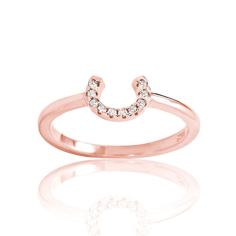 Rose Gold Plated 925 Sterling Silver CZ Horseshoe Ring