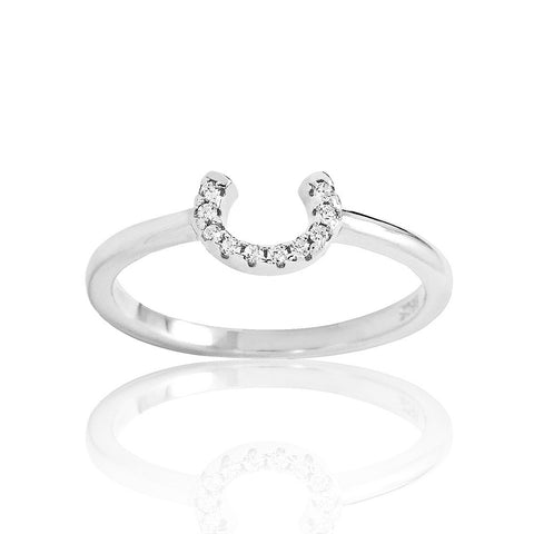 Sterling Silver Cubic Zirconia Horseshoe Ring