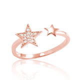 CZ Rose Gold Plated Sterling Silver Fashion Star Ring - Jewelry - Prjewel.com - 1