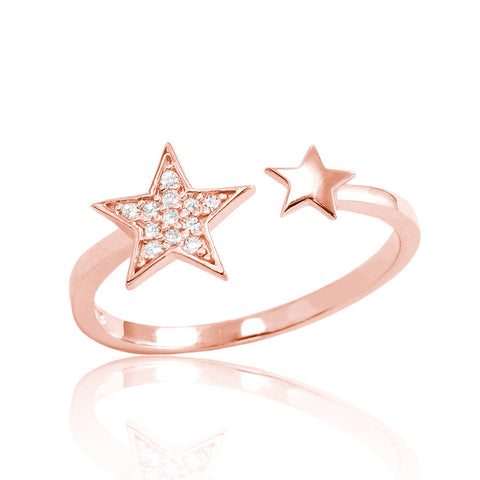 CZ Rose Gold Plated Sterling Silver Fashion Star Ring