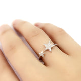 Cubic Zirconia Sterling Silver Fashion Star Ring - Jewelry - Prjewel.com - 2