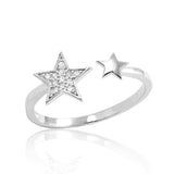 Cubic Zirconia Sterling Silver Fashion Star Ring - Jewelry - Prjewel.com - 1