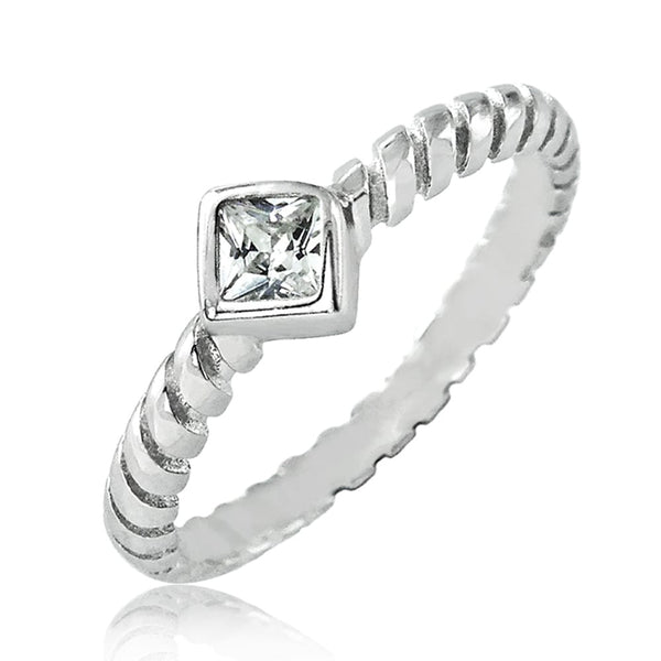Princess Cut CZ Sterling Silver Fashion Ring