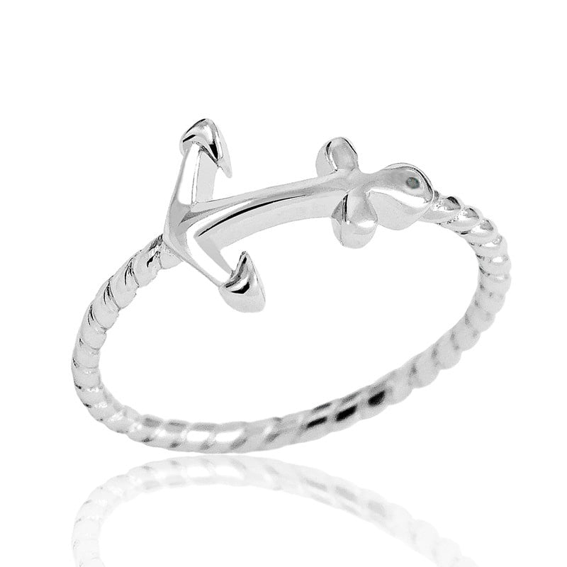 Fancy Sterling Silver Fashion Anchor Ring - Jewelry - Prjewel.com - 1