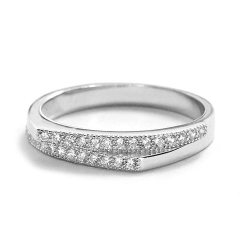 Fashion Cubic Zirconia Silver Angle Ring - Jewelry - Prjewel.com - 1