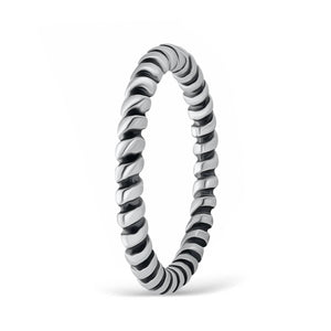 Sterling Silver Fashion Twisted Stacking Ring 2