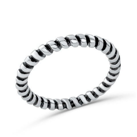 Sterling Silver Fashion Twisted Stacking Ring - Jewelry - Prjewel.com - 1
