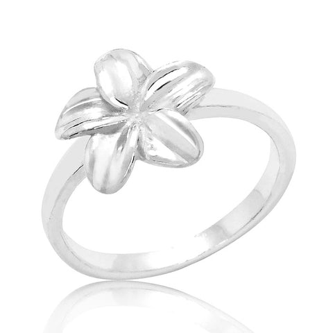 Sterling Silver Plumeria Flower Ring - Jewelry - Prjewel.com - 1