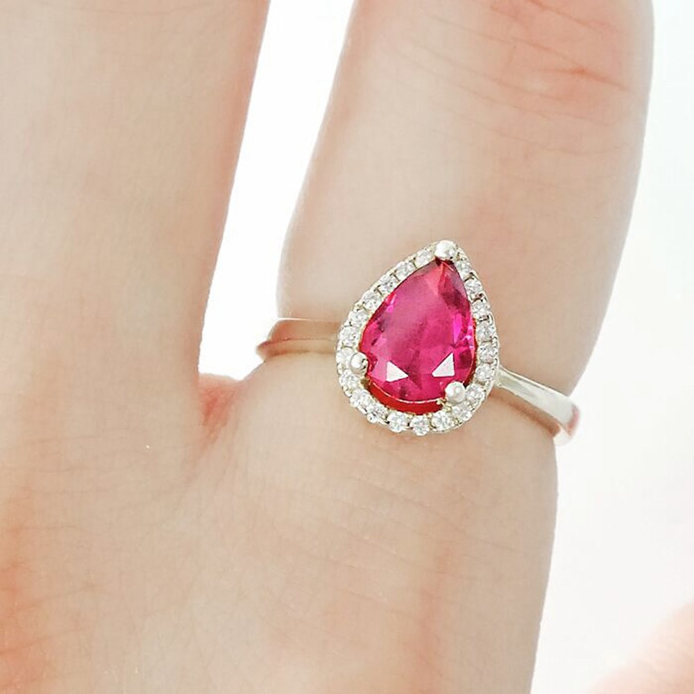 Pear Cut Red CZ 9k Gold Plated Sterling Silver Ring 2