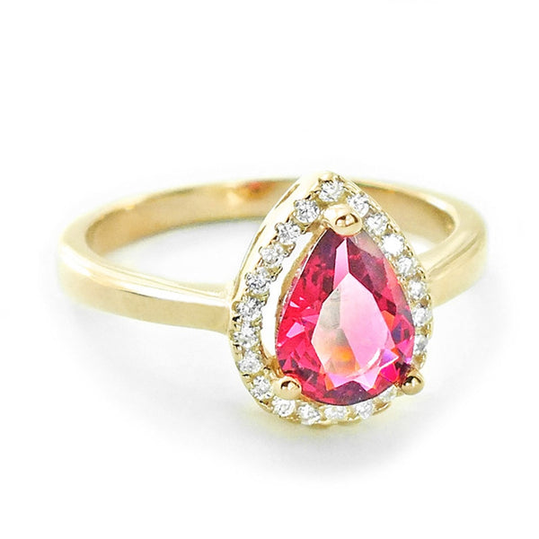 Pear Cut Red Crystal CZ 9k Gold Plated Sterling Silver Ring