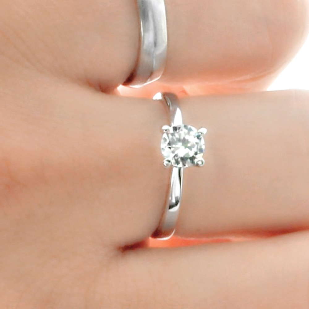 Sterling Silver 5mm Cubic Zirconia Solitaire Ring
