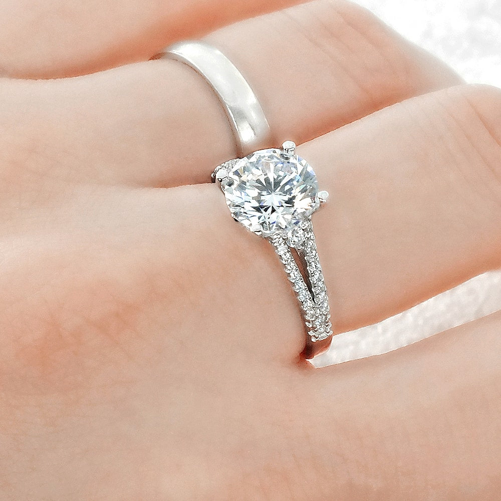Elegant Cubic Zirconia Sterling Silver Ring