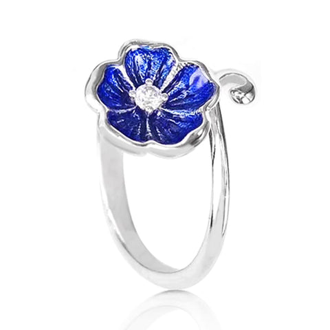 Sterling Silver Blue Flower Enamel Ring