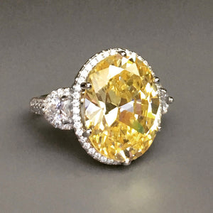 Hand Cut Oval Yellow Cz Sterling Silver Ring 2