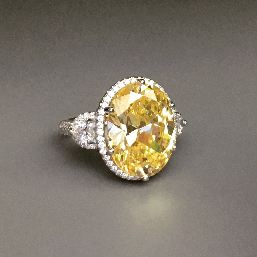 Hand Cut Oval Yellow Cz Sterling Silver Ring