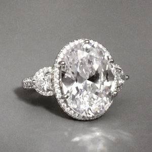 Sterling Silver Hand Cut Oval CZ Ring 2