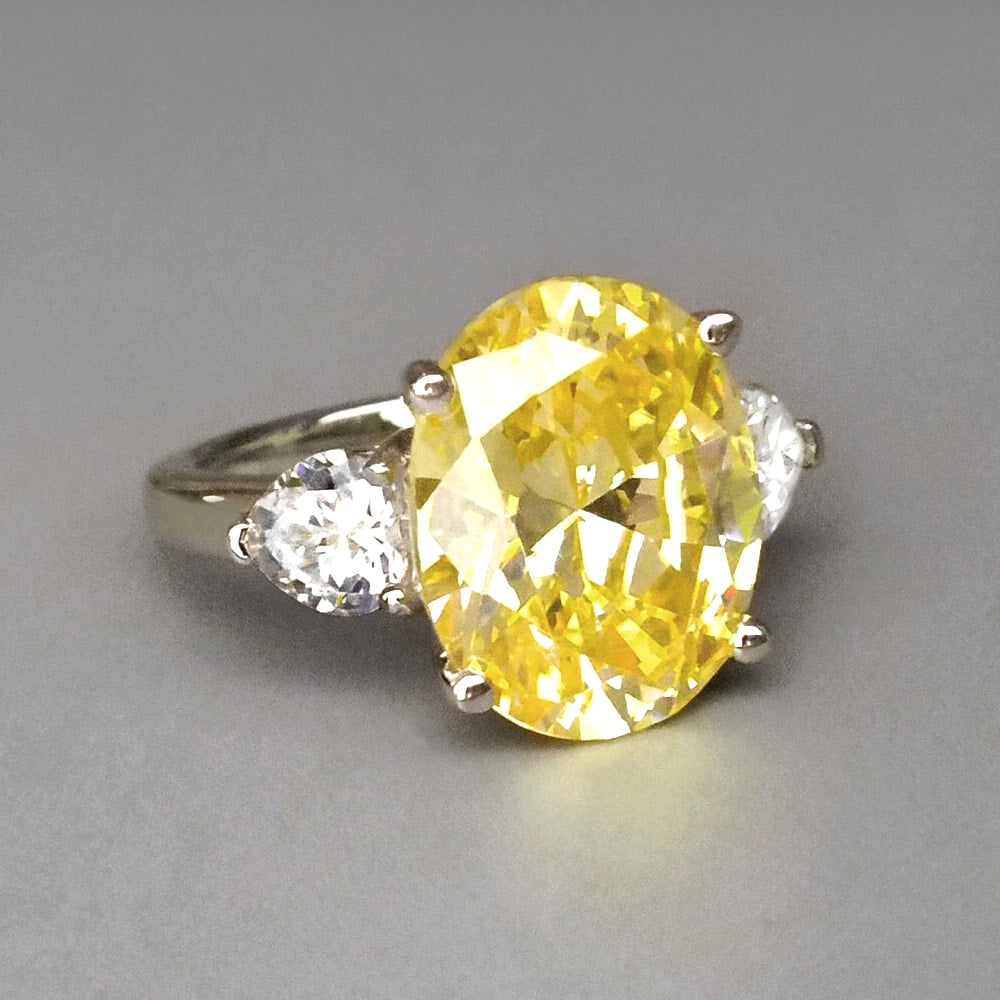 Hand Cut Yellow Oval CZ Three Stone Silver Ring
