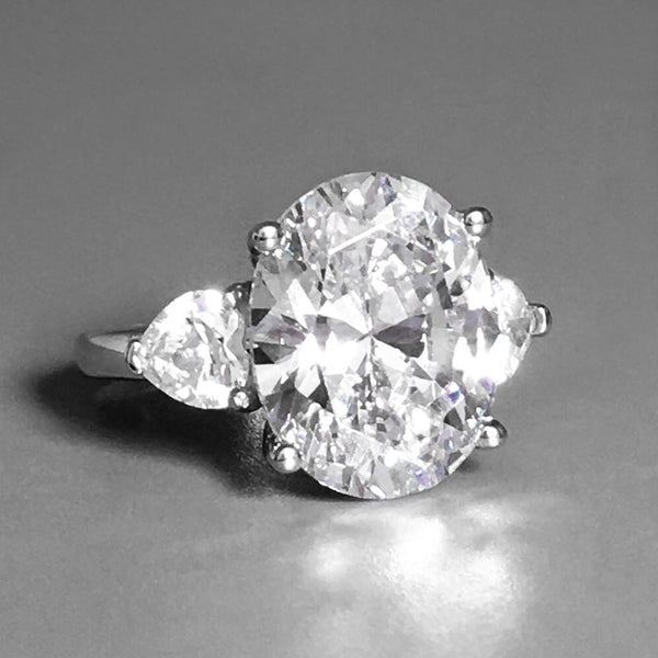 Hand Cut Oval CZ Three Stone Sterling Silver Ring