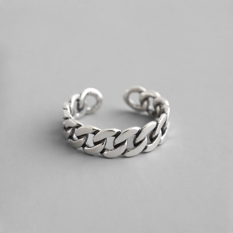 Sterling Silver Vintage Style Link Band Open Ring