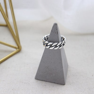 Sterling Silver Vintage Style Link Band Open Ring 2
