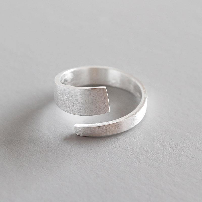 Sterling Silver Brushed Face Open Ring 2