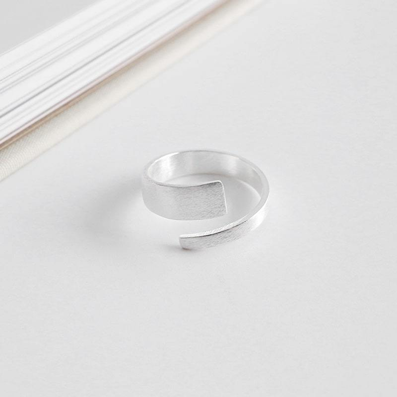 Sterling Silver Brushed Face Open Ring 4
