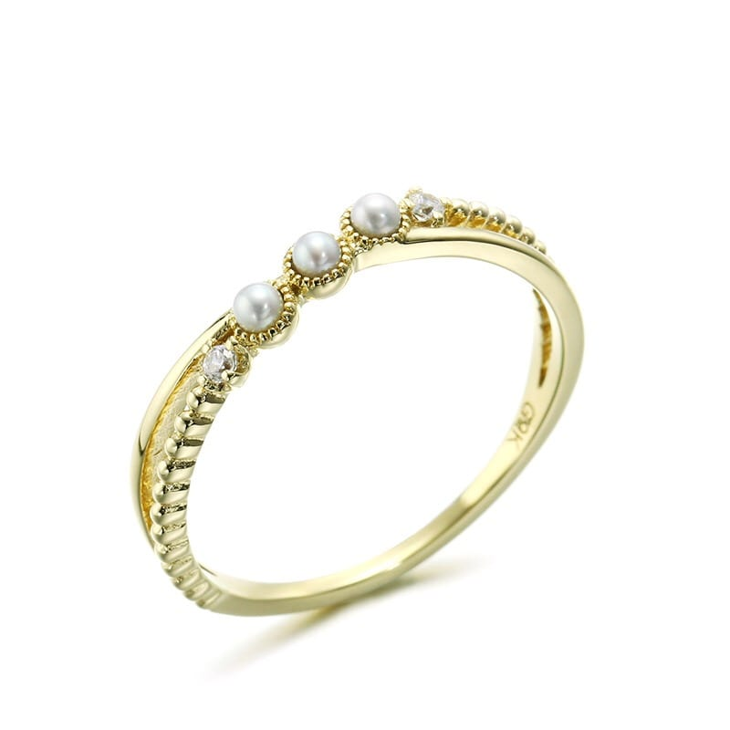 9K Solid Gold CZ Cross-Over Pearl Ring For Women