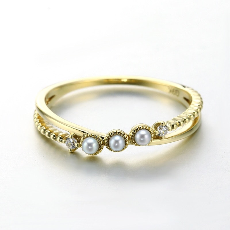 9K Solid Gold CZ Cross-Over Pearl Ring For Women 3