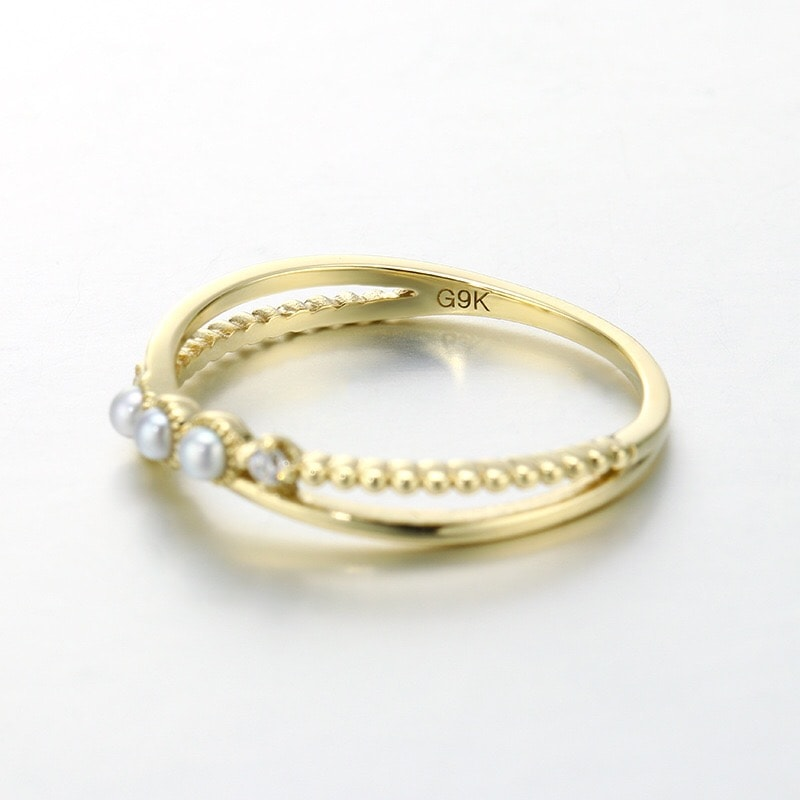 9K Solid Gold CZ Cross-Over Pearl Ring For Women 2