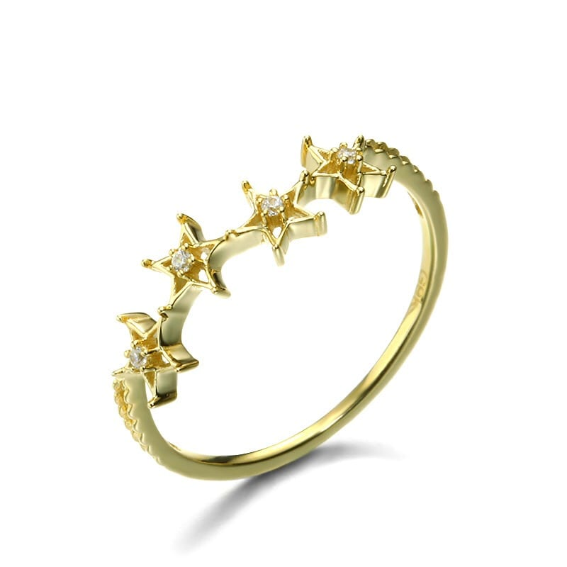 9K Solid Gold Stars Ring For Women