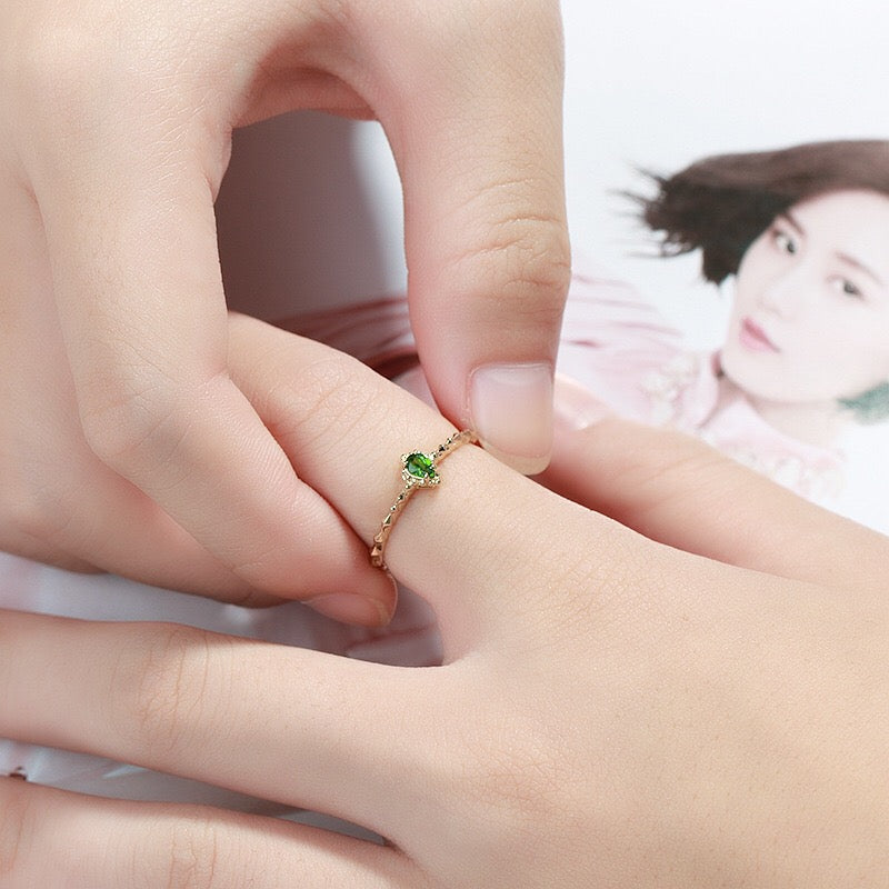 Genuine 9k Gold Natural Diopside Stackable Ring Jewelry 3