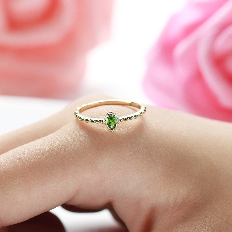 Genuine 9k Gold Natural Diopside Stackable Ring Jewelry 2