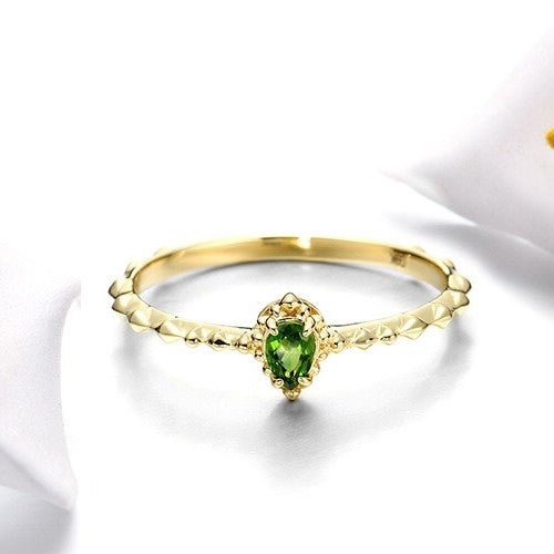 Genuine 9k Gold Natural Diopside Stackable Ring Jewelry
