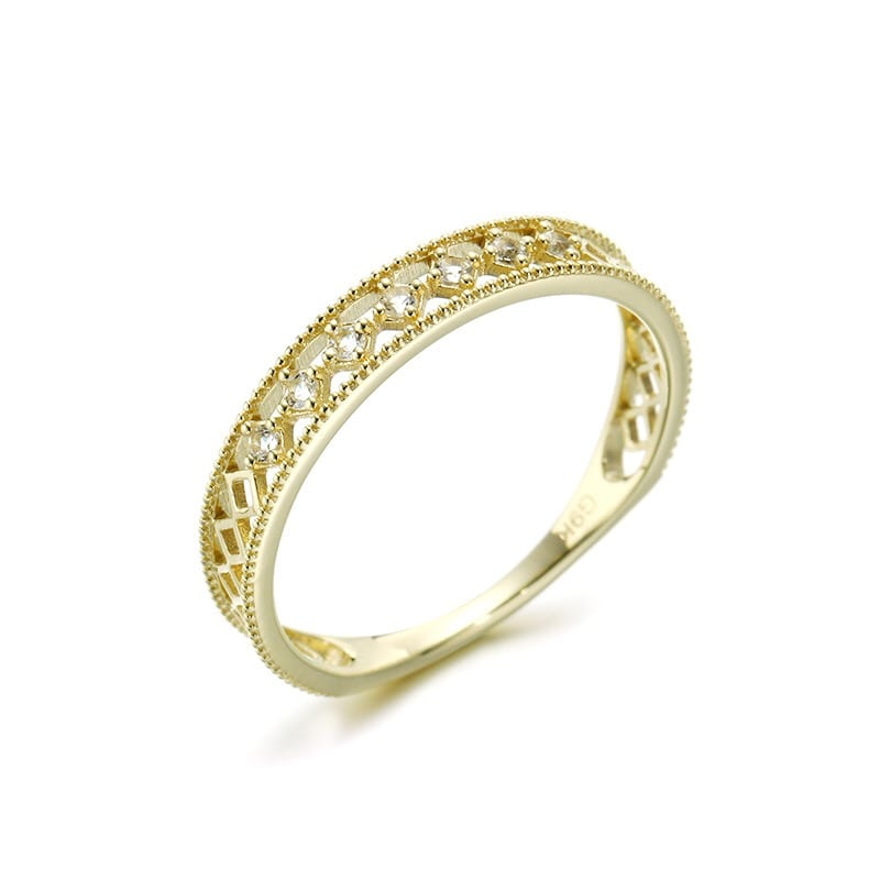 Genuine 9k Gold Natural White Topaz Fashion Ring Jewelry 2