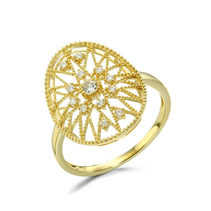 Solid 9K Gold CZ Elegant Vintage Style Ring For Women