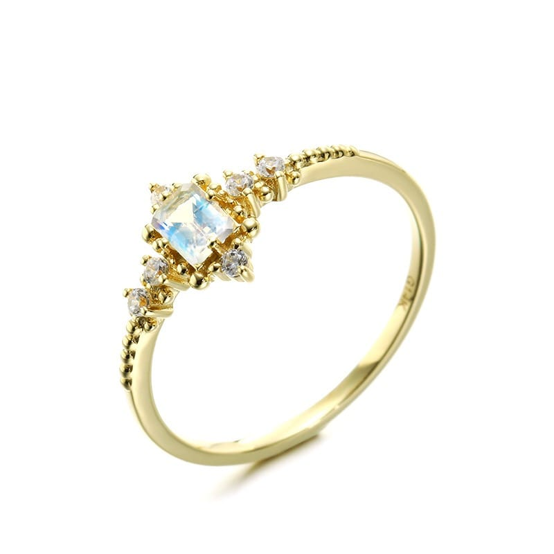 Genuine 14k Gold Moonstone Gemstone Ring Fashion Jewelry