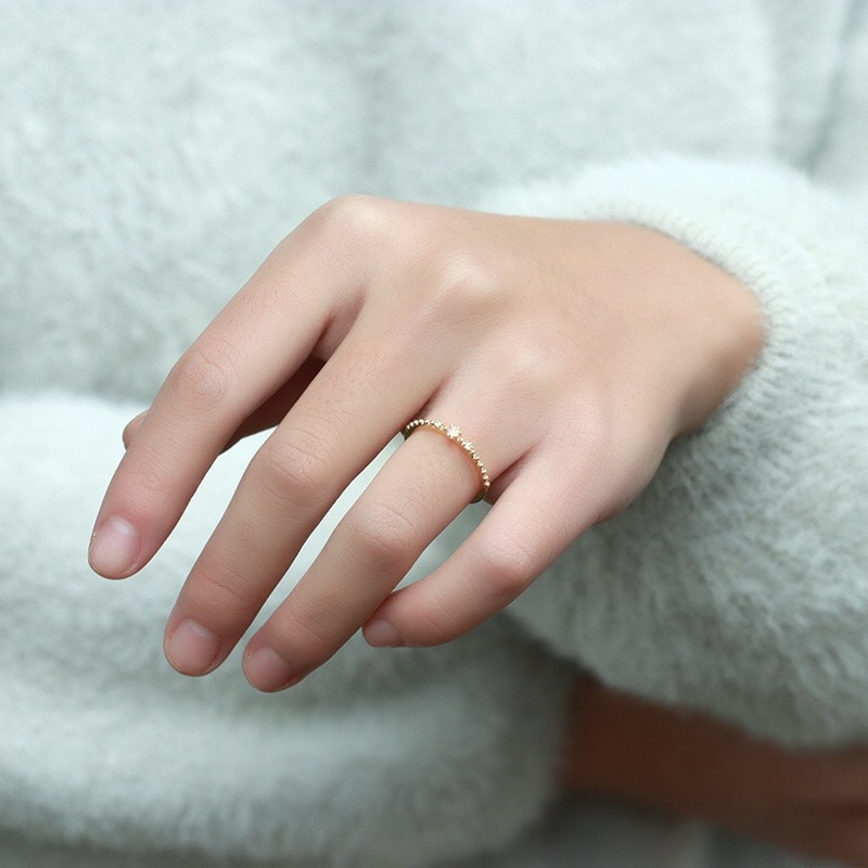 Genuine 9k Gold Thin Cute Moonstone Ring for Women Girls