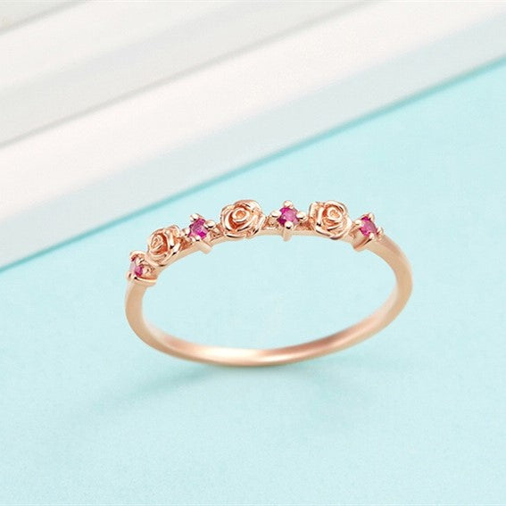 9K Rose Gold Natural Ruby Rose Ring For Women