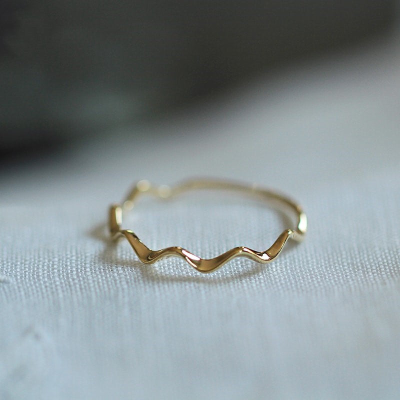 9K Solid Gold Wave Eternity Ring 3