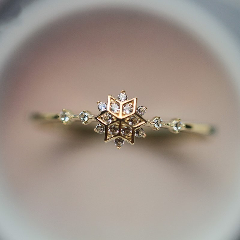 9K Solid Gold CZ Flower Snowflake Ring for Women Girls