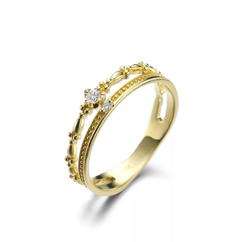 9K Yellow Gold Cz Double Halo Ring