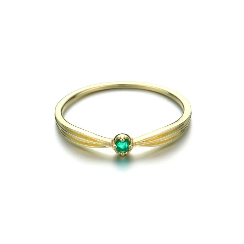 9K Solid Gold Natural Emerald Ring