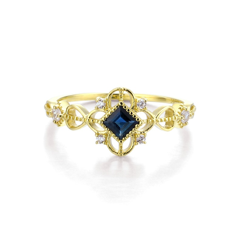 9K Yellow Gold Ornate Natural Sapphire Ring