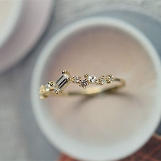 9K Solid Gold Sparkles Elegance Ring