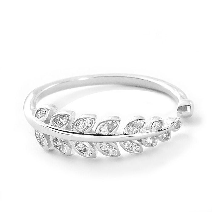 Cubic Zirconia Sterling Silver Leaf Ring