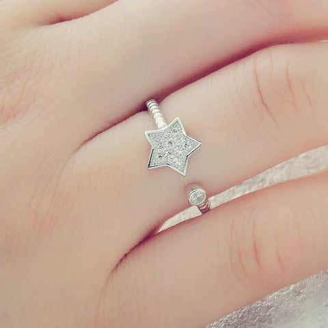 Cubic Zirconia Sterling Silver Star Ring